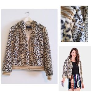 Cheetah Faux Fur Varsity Hooded Jacket